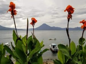 A view of Lake Atitlán from Pnajachel, Guatemala.
